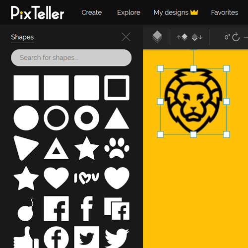Choose from over 100,000 shapes on PixTeller Editor