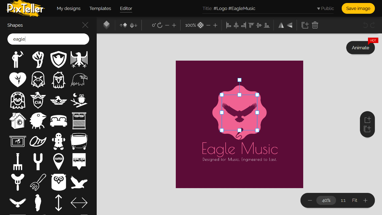 PixTeller Logo Maker Editor Screenshot
