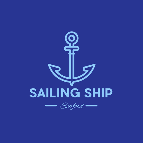 Blue Sailing Ship Logo Editable for Any Restaurant or Seefood Shop