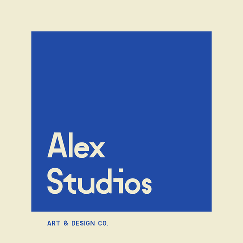 Studio Logo Example into a Blue Square Background