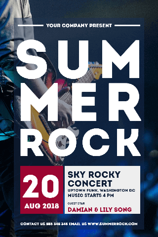 Sky Rocky Concert Poster Invitation Easy to Customize