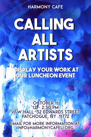 Calling All Artists Poster Invitation Design with Blue and White Background