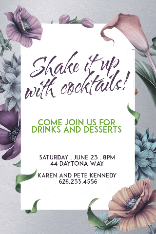 Shake It Up with Cocktails Party Poster Invitation Example