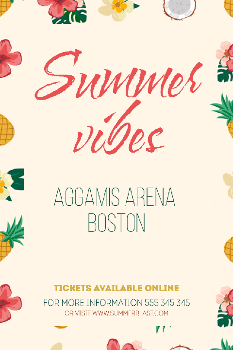 Summer Vibes Editable Poster Invitation Template