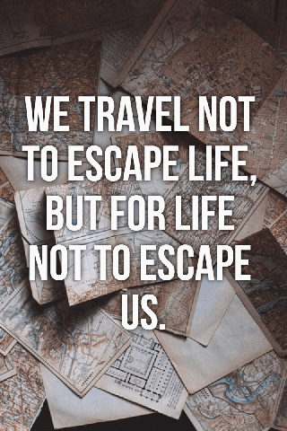Travel Quote Poster with Capitalize Words and Photo Background